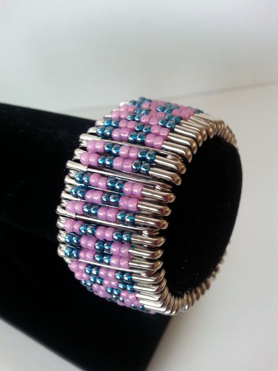 Pink and teal safety pin bracelet safety pin bracelet for Safety pins for crafts