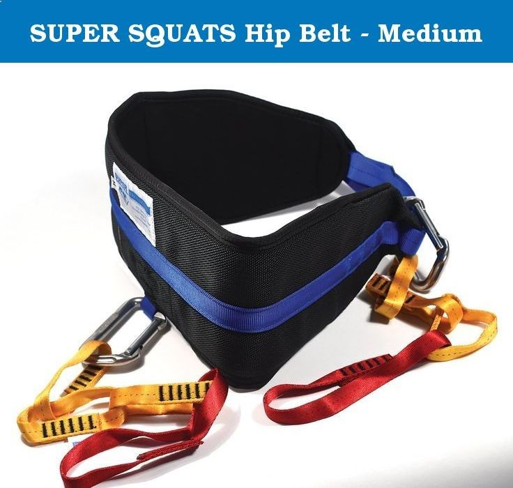 SUPER SQUATS Hip Belt - Medium. The SUPER SQUATS Hip Belt has been used to boost sheer leg strength, gain muscle mass, and increase ones vertical jump. Safe and easy to use at home, it is also perfect for weighted chins and dips, a variety of calf exercises, pulling, dragging  hip lifts. To squat, straddle a short bar, clipping in front and back, or hang the weight just in front - either way, the SUPER SQUATS Hip belt allows you to squat unencumbered by a bar on your shoulders. And the...