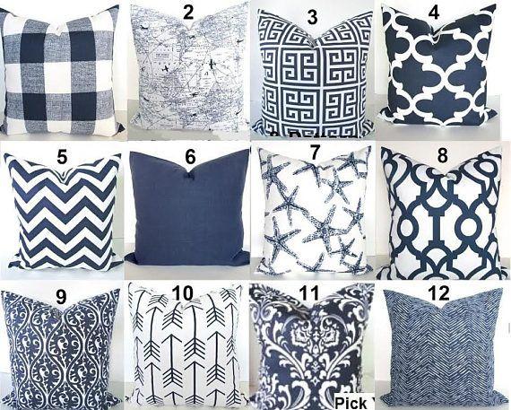 BLUE THROW PILLOWS Blue Pillow Covers Dark Blue Pillows Blue Throw Pillow Covers Blue Decorative Pillows 16 18 20x20 All Sizes. Euro Shams