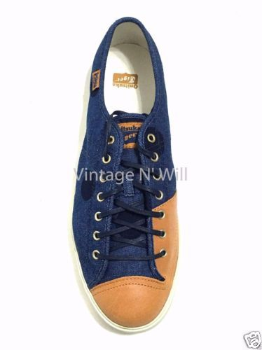 ASICS-Onitsuka-Tiger-Mens-Badminton-68-Blue-Denim-Tan-Leather-Low-Sneaker-Dot