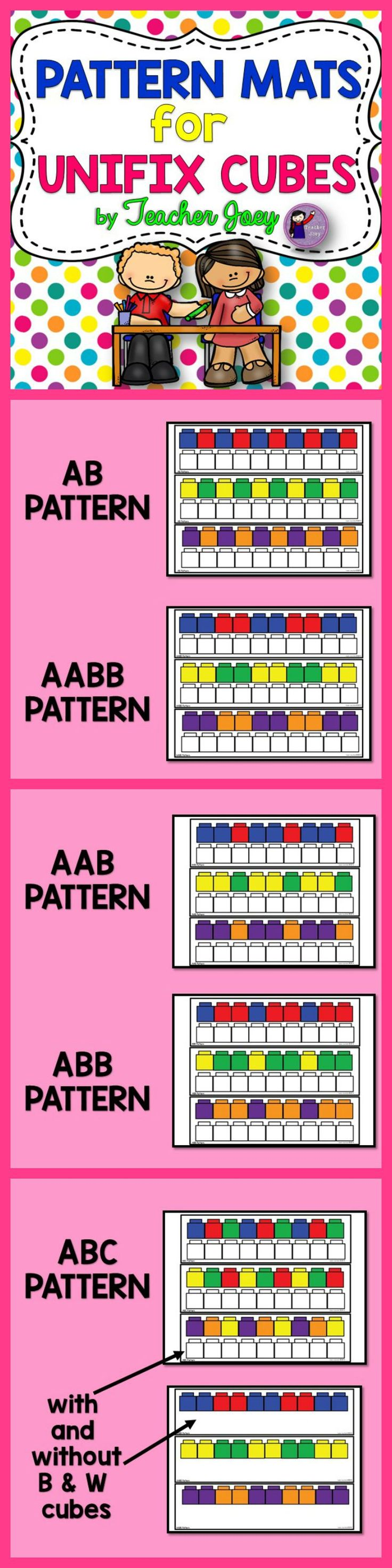 Pattern Mats #Unifix Cubes #teacherspayteachers #backtoschool #backtoschool 2015  Recognizing and making patterns is a fundamental skill that should be mastered by students to develop good literacy and numeracy skills.  This unit is composed of 5 sets of patterns (with three strips each) suitable for Pre-K, Kindergarten and 1st Grade students who are beginning or needing practice in recognizing and making patterns.