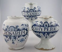 A group of three English delft drug jars