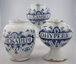 A group of three English delft drug jars