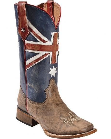 Roper Australian Flag Cowboy Boots - Square Toe