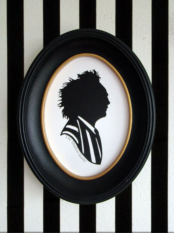 Beetlejuice Hand-Cut Paper Silhouette Portrait by TheShadowStudio on Etsy