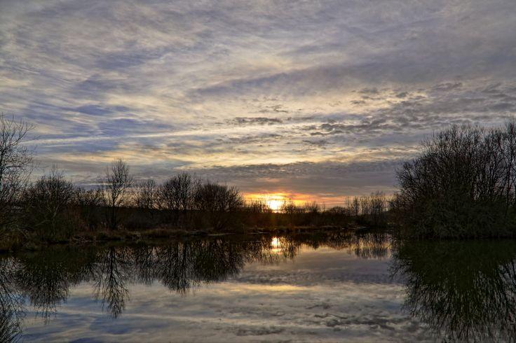 HDR Art - Sunset over the Flood Park - Suffolk Landscape