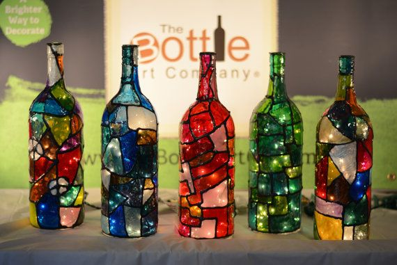 Stained Glass Light Up Wine Bottles With by TheBottleArtCompany                                                                                                                                                                                 More