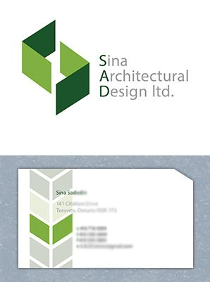 """Sina Architecture"" has stylized walls to reinforce the notion of building planning.  Logo and business card design by Fusion Studios Inc."