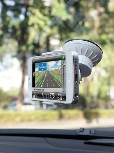 A secure stand and a flexible mounting system for your iPhone 5 to be put on the windshield or dashboard while driving. It can hold your iPhone exactly at the right angle and easily rotated, with an open dock connector for charging.