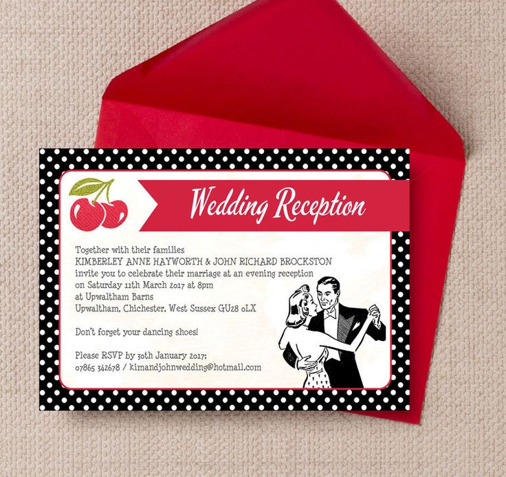 41 best beautiful evening wedding reception invitations images on retro cherry rockabilly evening reception invitation stopboris Choice Image