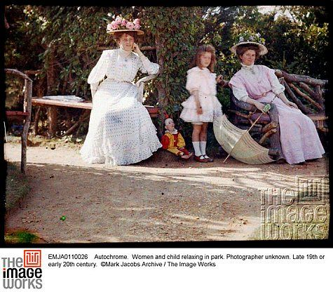 Autochrome: Women and child relaxing in park. Late 19th or early 20th century. Mark Jacobs Archive.