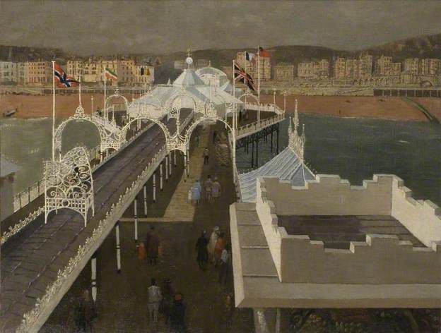 ABOUT THIS PAINTING Palace Pier, Brighton, East Sussex by John Arthur Malcolm Aldridge  Date painted: 1950