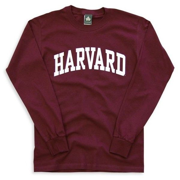 Harvard L/S T-Shirt Classic (Maroon) (£27) ❤ liked on Polyvore featuring tops, shirts, sweaters, long sleeves, long sleeve cotton shirt, maroon top, long sleeve cotton tops, long sleeve shirts and purple shirt
