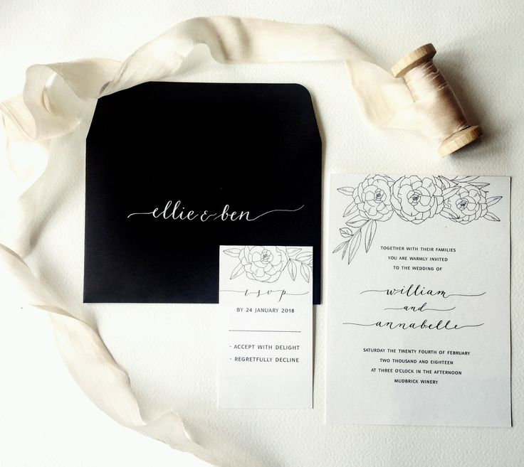 Floral minimalism. Beautiful black and white wedding invitation suite with ink drawn roses and delicate calligraphy script.