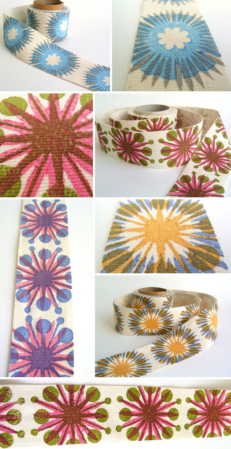 Love flower power daisy graffiti print cotton fabric 60s 70s retro - I Love The Blockprinted Buttons And Tape Seen Over At Jezze Prints Etsy Shop Her Color Usage Is Spot On And Who Can Resist Hand Printed Ribbons