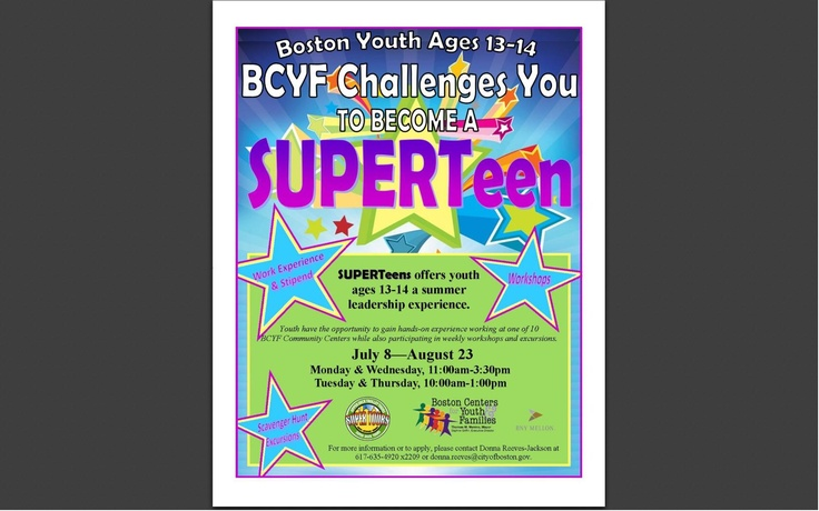Too young for Hopeline? 13-and-14-year-olds can get summer work experienceand a stipend through BCYF SUPERTeens!