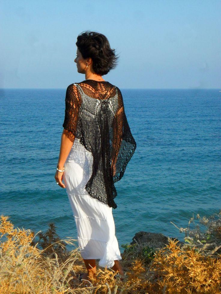 Black, elegant lacy cape by SimonaStyleByHand on Etsy