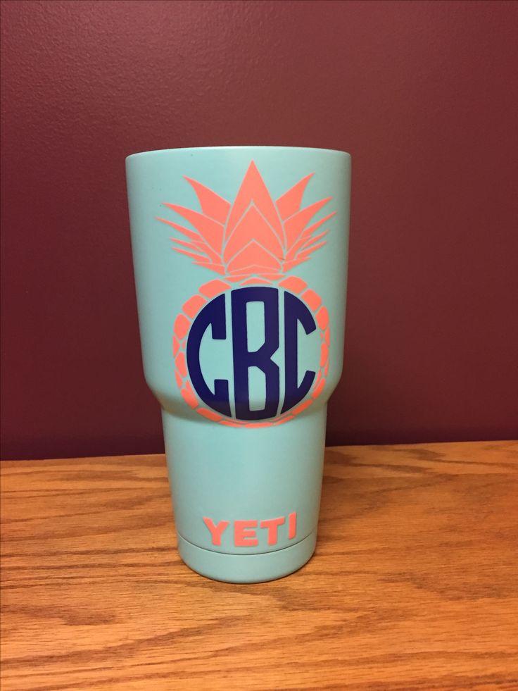 Pineapple monogram yeti cup