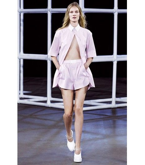 @Who What Wear - Alexander Wang S/S 14                 Style Tip: Button only the top of your blouse for a sexy, adventurous iteration!