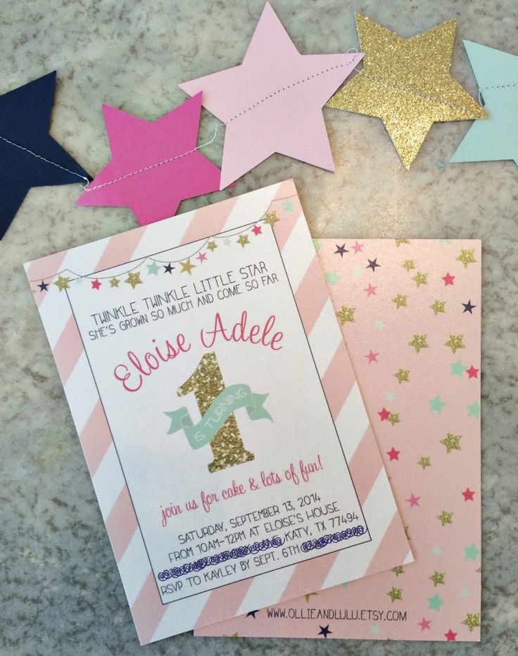 wording ideas forst birthday party invitation%0A Pink and Gold Twinkle Little Star  st Birthday Party
