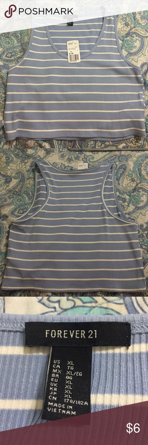 Forever 21 Baby blue and white crop top BRAND NEW NEVER WORN. Tag still on. Forever 21 Tops Crop Tops