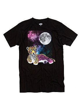 "<div>Your 90's binder has been remade into this amazing tee from neon-whimsy art queen, Lisa Frank. The black T-shirt features an image of a neon colored leopard lying under a full moon and colorful galaxy. </div><div><ul><li style=""list-style-position: inside !important; list-style-type: disc !important"">100% cotton</li><li style=""list-style-position: inside !important; list-style-type: disc !important"">Wash cold; dry low</li><li style=""list-style-position: inside !important; list-styl..."