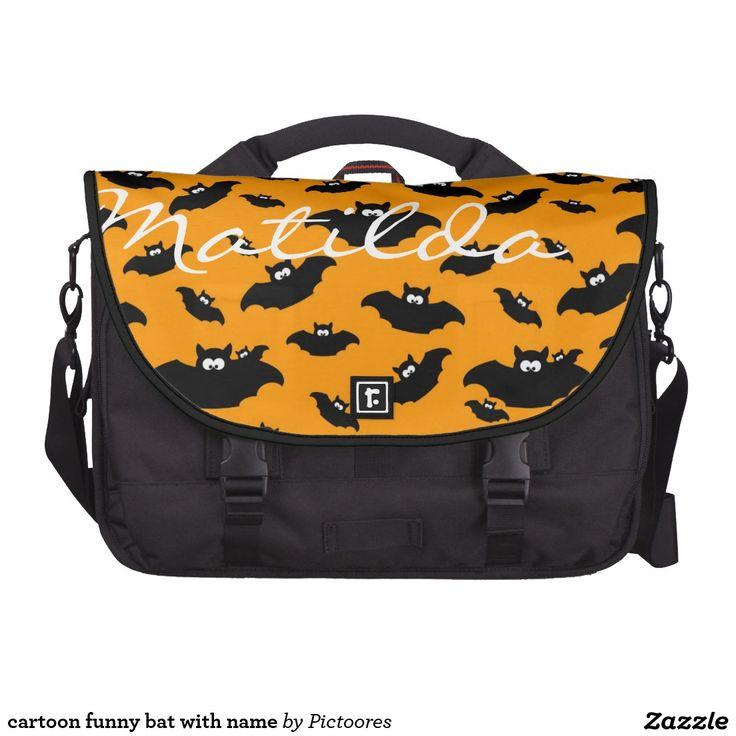 cartoon funny bat with name laptop shoulder bag