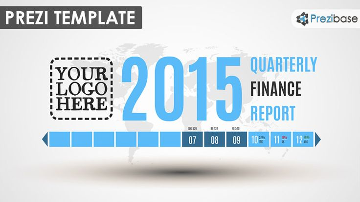 Prezi Template for presenting Quarterly or Annual Finance Reports.  Big year number, your logo and presentation title on a gray world background (changeable).  12 rectangles which illustrate each month – zoom in to present the details.  Present your business/company information with a minimal yet clean, professional and sleek looking template.