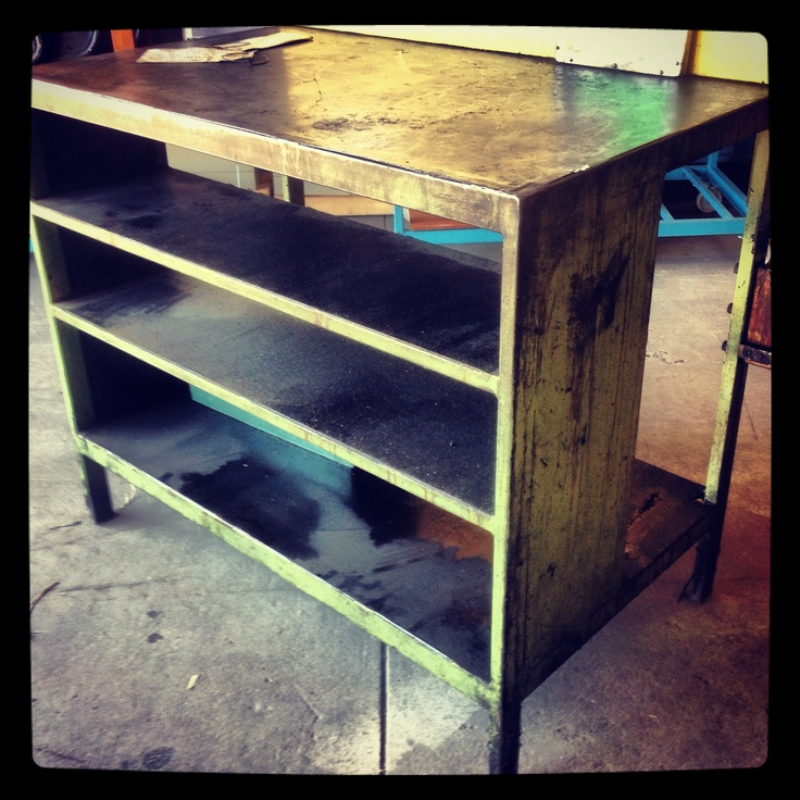 Industrial bench with shelves