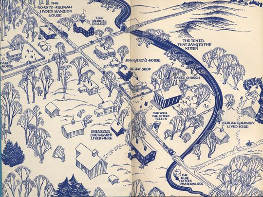 Catherine Cate Coblentz. The Blue Cat of Castle Town. New York: Longmans, Green & Company, 1949. The book opens with this charming aerial drawing of a village on the front endpapers.