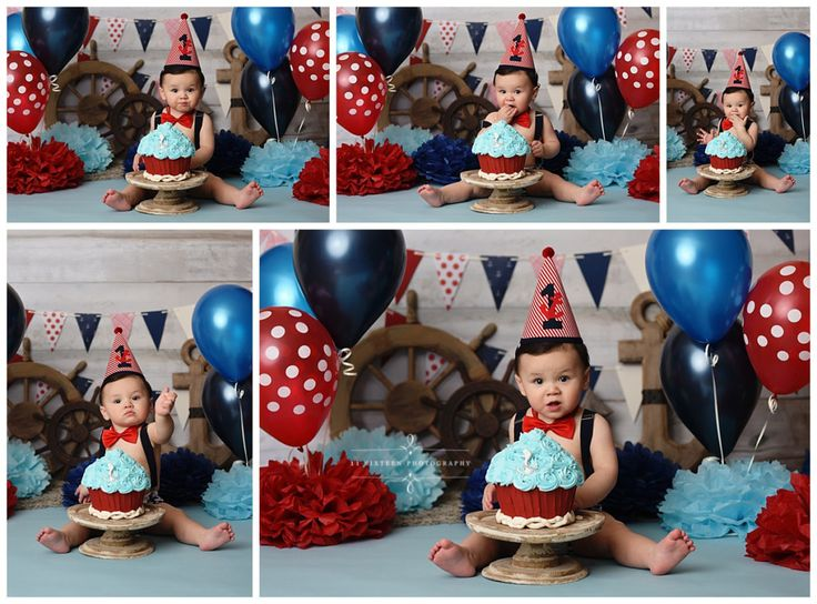 Cameron's Nautical Themed First Birthday Cake Smash Session {11 Sixteen Photography}