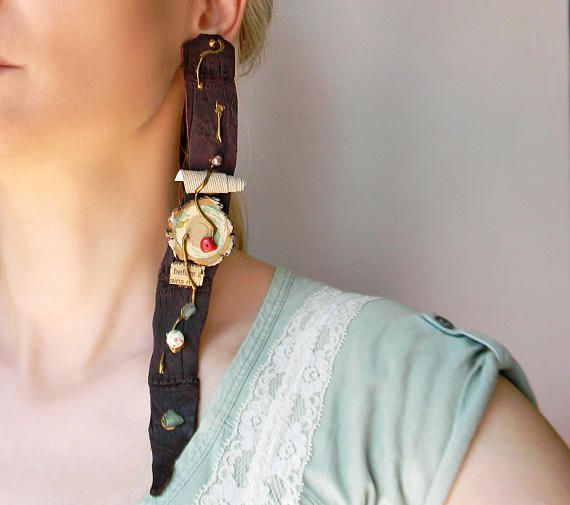 Huge leather clip on earrings Extra long brown leather