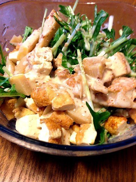 筍の土佐煮のリメイクー - 9件のもぐもぐ - 筍と厚揚げと水菜のサラダ by sakutae