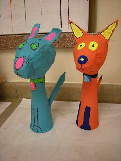Start with a cardbarod cone, add newpaper ball for head and mmore cardboard for ears and tail: Artolazzi: Papier Mache Pets