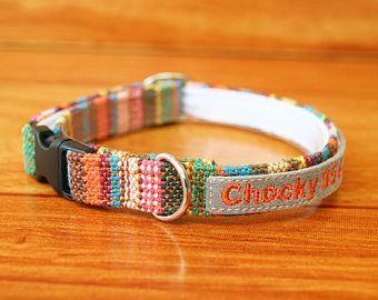 Colorful Woven Cat Collar Personalized, Chocky Personalized Cat Collar, Chocky Cat Collar Tag, Kitten Collar, Cat id Tag, Small Dog Collar