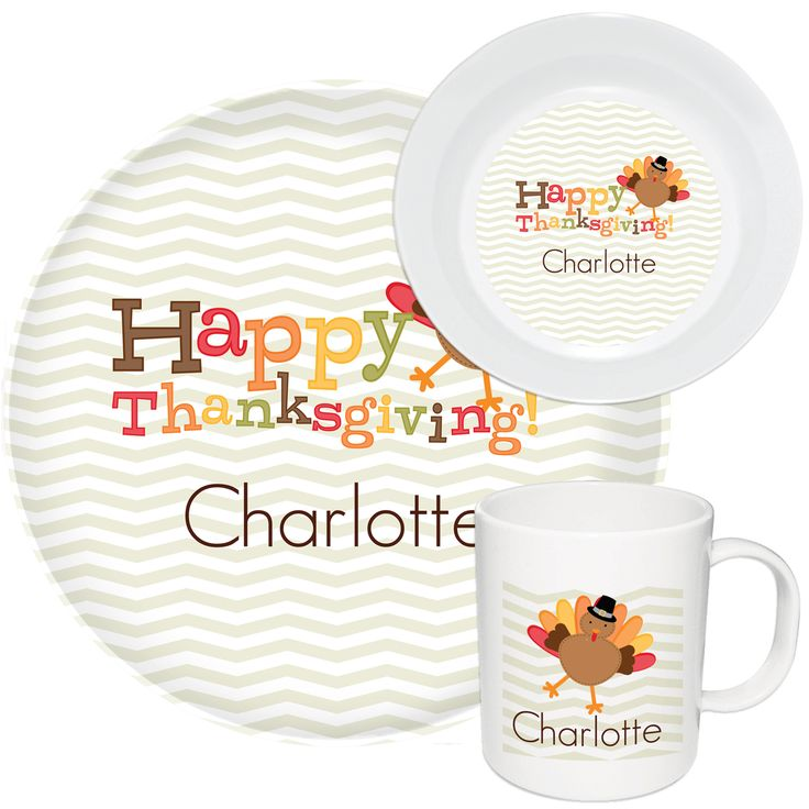 Charming Happy Thanksgiving Melamine Dinnerware Set For Children. Make The Holiday  Memorable With Made To Order