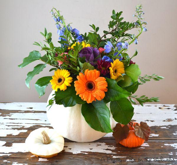 white pumpkin flower arrangement.  i love the colors