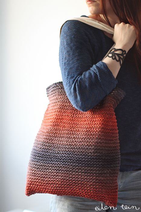 Knitted tote. Tutorial and Pattern in Finnish.