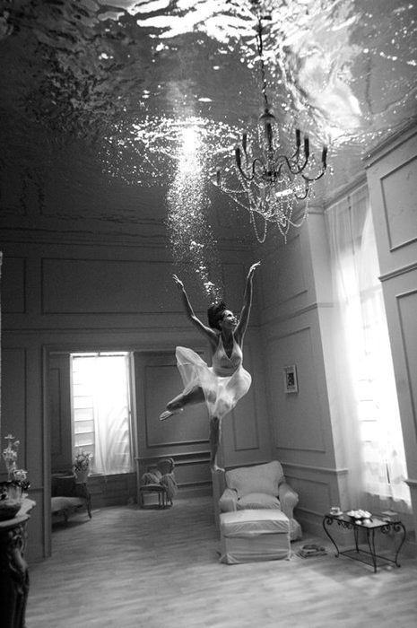 underwater in a living room. Gotta love unique and interesting photography