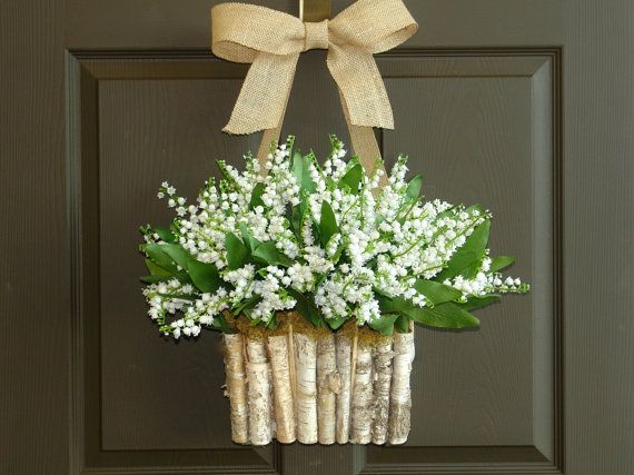 spring wreath lily of the valley wreath front door decorations wall decor wedding wreath birch bark vase on Etsy, $89.95