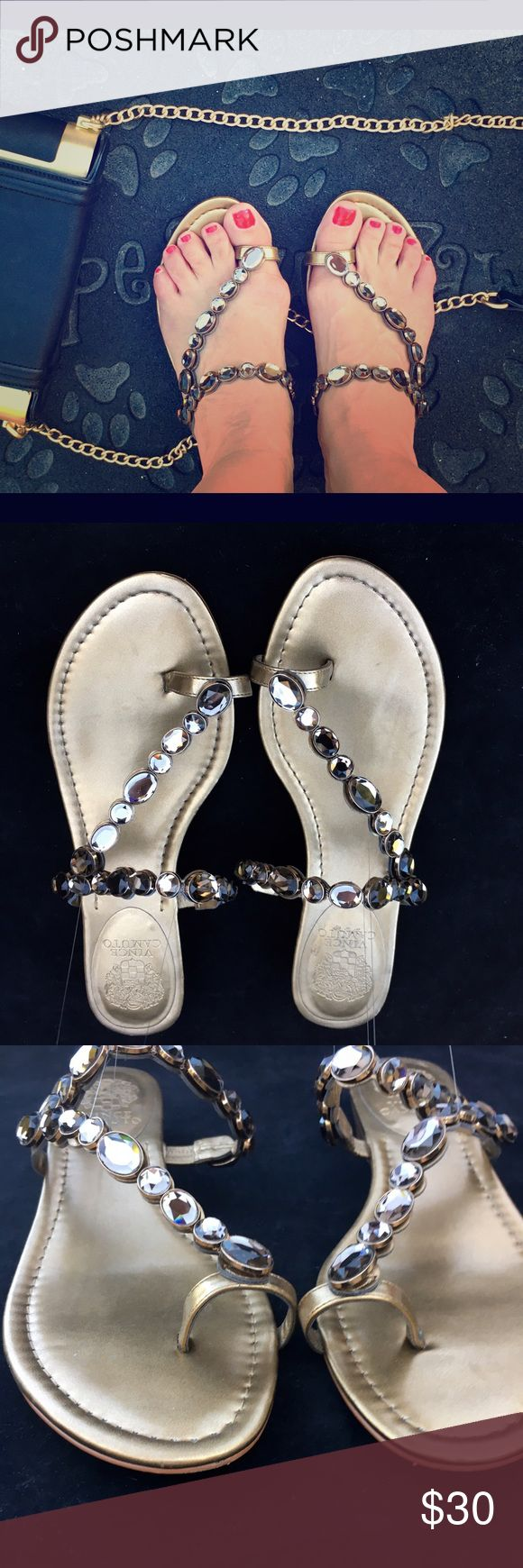 "Vince Camuto 'Imanal' Sandals Size 10 Gently Pre-owned Vince Camuto dazzling ""Imanal"" sandal with jeweled vamp, gold metallic leather, an open-toe slip-on Demi wedge (1 1/4""), and thong toe ring detail. Add shine to your summer outfits. Worn only twice and in great condition. Size 10 Vince Camuto Shoes Sandals"