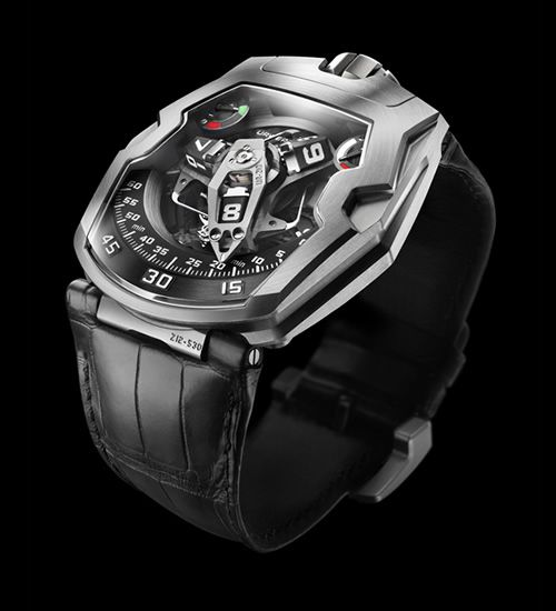Horological artisans Urwerk debut their latest watch, the UR-210. Beautifully sophisticated in its form and function, the 210 features two power reserve indicators: one traditional reserve at one o'clock and another at 11. Why two? The second indicator is a unique complication that displays winding efficiency which will point towards red when there is no activity and will then move towards the green zone when you become more active.
