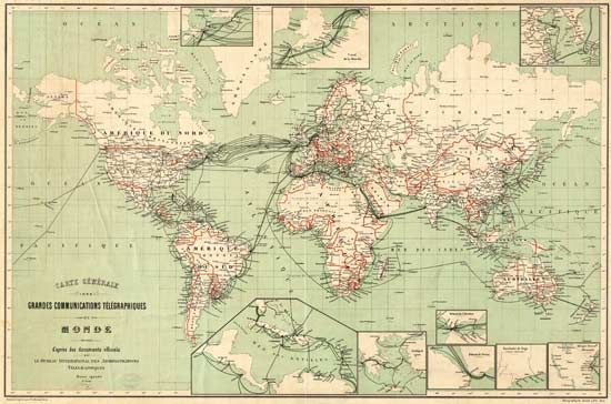 History of the Atlantic Cable & Submarine Telegraphy - Submarine Cable Route Maps