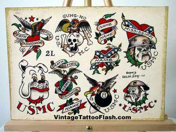 vintage tattoo flash, spit shade, antique, tattoo art, tthu, thats the hook up, sailor jerry, 8 ball, eight ball, bull dog, usmc, united states marine corps, eagle, anchor, globe, rebel, confederate