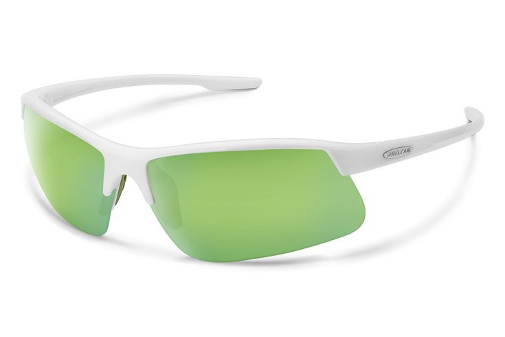 Suncloud Flyer Sunglasses, White Frame/Green Mirror Polycarbonate Lens, One Size