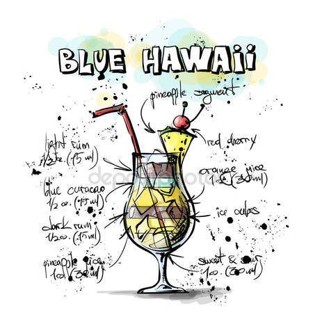 Letöltés - Kézzel rajzolt ábrán koktél. Blue Hawaii — Stock Illusztráció #34236521