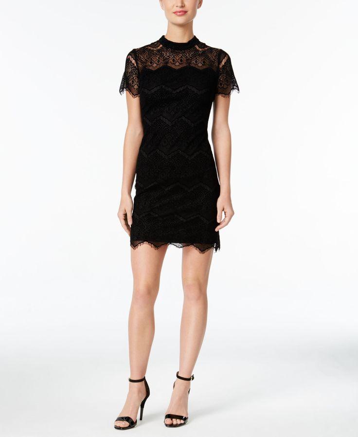 Calvin Klein petite Burnout Lace Mock-Neck Dress