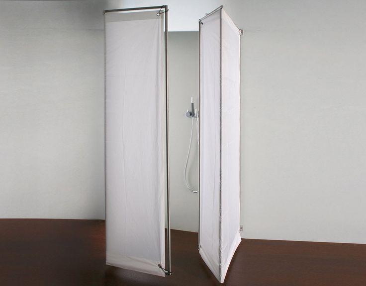 Rapsel, Box Doccia Ima Cabina doccia per vasca ad angolo o a parete, struttura in acciaio inox satinato e pannelli in tessuto, con sistema di apertura a libro.