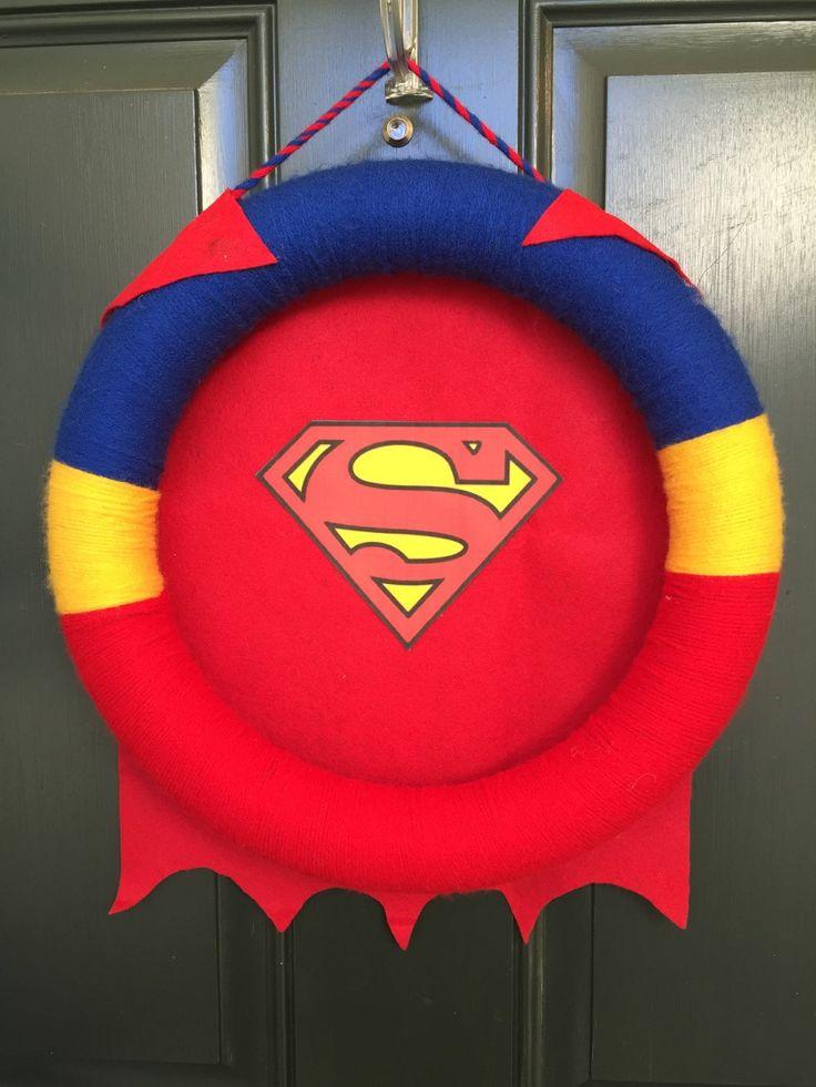 Superhero Wreath-Batman Wreath-Superman Wreath-Yarn Wreath-Bedroom Door Wreath-Birthday Party Wreath by HumbleHomeDesigns on Etsy https://www.etsy.com/listing/216500254/superhero-wreath-batman-wreath-superman