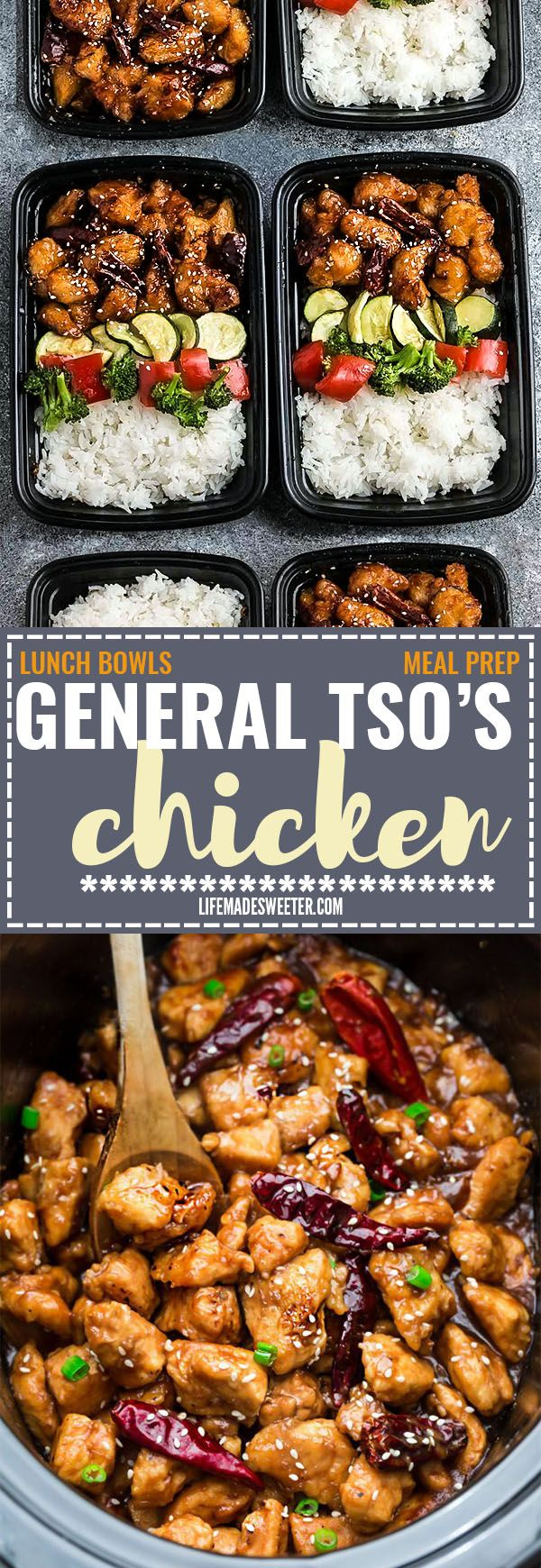 Slow Cooker or Instant Pot General Tso's Chicken Meal Prep Lunch Bowls - coated in a sweet, savory and spicy sauce that is even better than your local takeout restaurant! Best of all, it's full of authentic flavors and super easy to make with just 15 minutes of prep time. Skip that takeout menu! This is so much better and healthier! With gluten free and paleo friendly options. Weekly meal prep for the week and leftovers are great for lunch bowls or lunch boxes for work or school.
